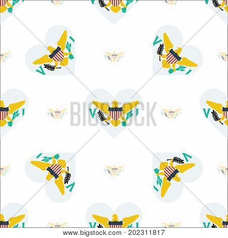 Virgin Islands, U.s. Flag Patriotic Seamless Pattern. National Flag In The Shape Of Heart. Vector Il