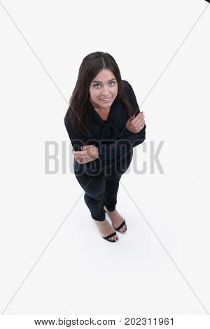 view from above. modern young business woman looking up
