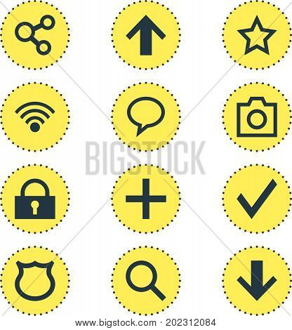 Editable Pack Of Publish, Shield, Padlock And Other Elements.  Vector Illustration Of 12 Interface Icons.