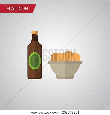 Beer With Chips Vector Element Can Be Used For Beer, Chips, Snack Design Concept.  Isolated Snacks Flat Icon.