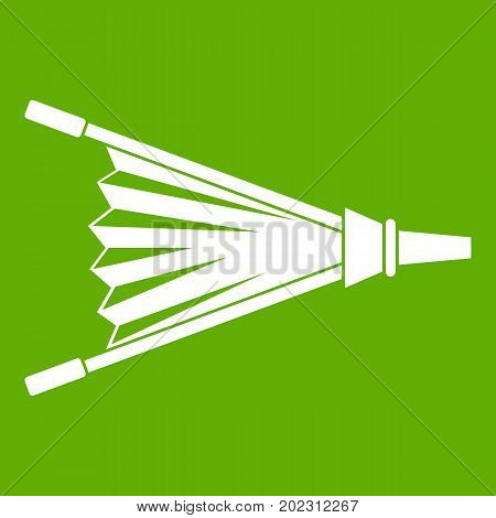 Fire bellows icon white isolated on green background. Vector illustration