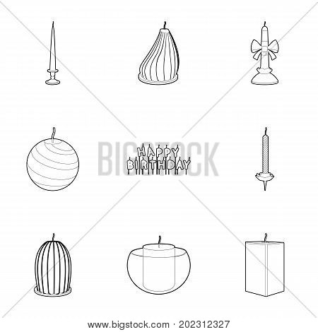 Different candles icons set. Outline set of 9 different candles vector icons for web isolated on white background