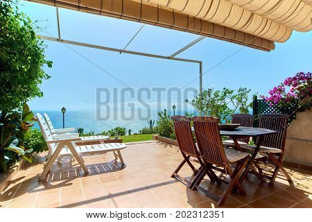 Mediterranean Sea. View from the sunny summer terrace. Alicante Spain