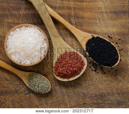 Different gourmet varieties of salt - black and red Hawaiian variety