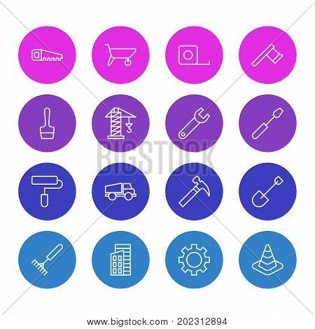 Editable Pack Of Cogwheel, Handcart, Spanner Elements.  Vector Illustration Of 16 Construction Icons.