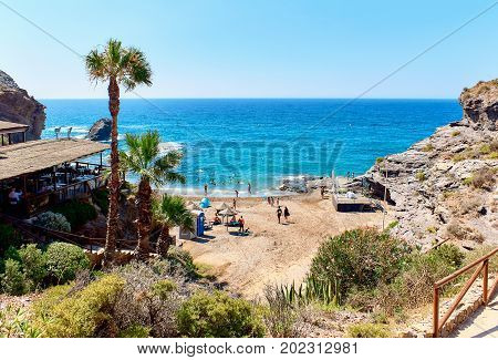 Picturesque Cala del Barco beach. Cartagena Costa Blanca. Spain poster