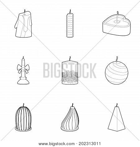 Christmas candle icons set. Outline set of 9 christmas candle vector icons for web isolated on white background