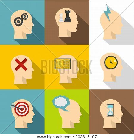 Head silhouette with gear icon set. Flat style set of 9 head silhouette with gear vector icons for web design
