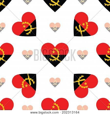 Angola Flag Patriotic Seamless Pattern. National Flag In The Shape Of Heart. Vector Illustration.