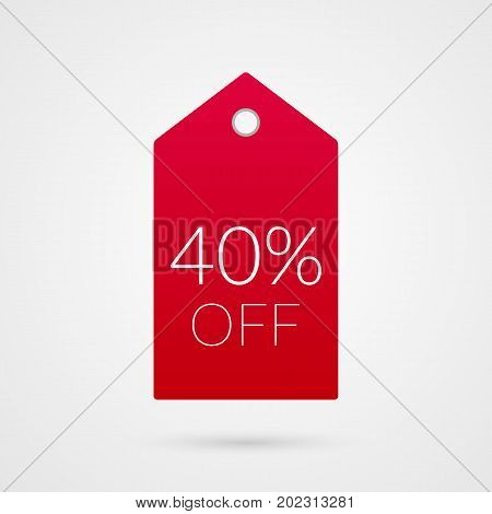 40 percent off shopping tag vector icon. Forty red and white isolated discount symbol. Illustration sign for sale advertisement marketing project business retail wholesale shop store finance