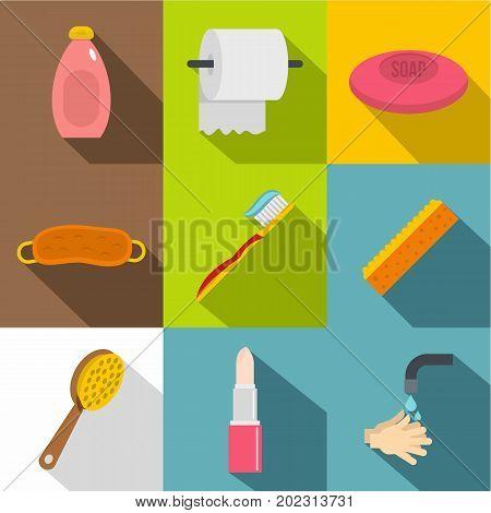Bathroom accessories icon set. Flat style set of 9 bathroom accessories vector icons for web design