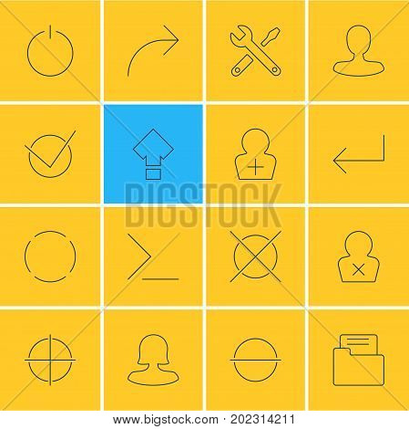 Editable Pack Of Repeat, Positive, Switch Off And Other Elements.  Vector Illustration Of 16 User Icons.