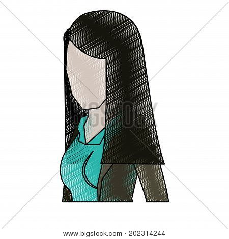 business woman faceless in jacket and half body and straight long hair to pencils colored silhouette vector illustration