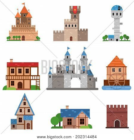 Medieval historical buildings of different countries set, towers, castles, forts, houses cartoon vector Illustrations on a white background