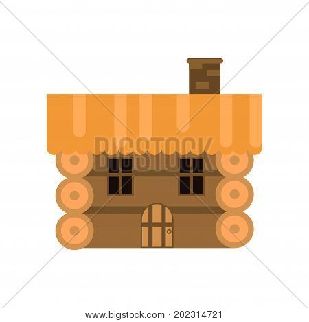 Rustic wooden log cabin vector Illustration on a white background