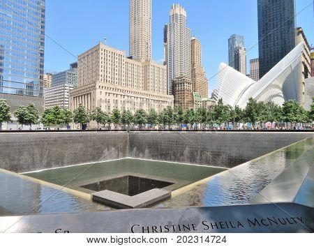 New York City -June 21 2017 - 9 11 Memorial at World Trade Center Ground Zero