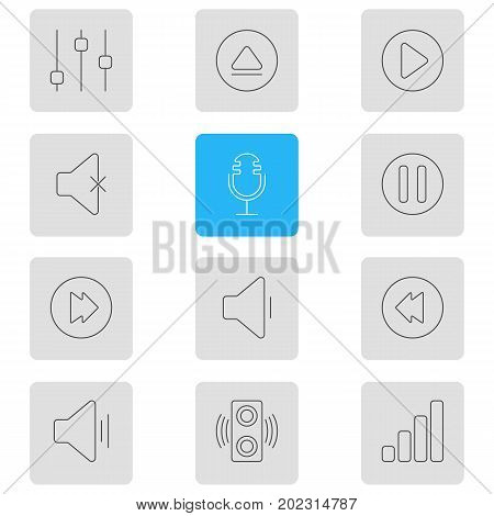 Editable Pack Of Rewind, Lag, Stabilizer And Other Elements.  Vector Illustration Of 12 Music Icons.