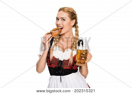 Girl With Beer And Pretzel