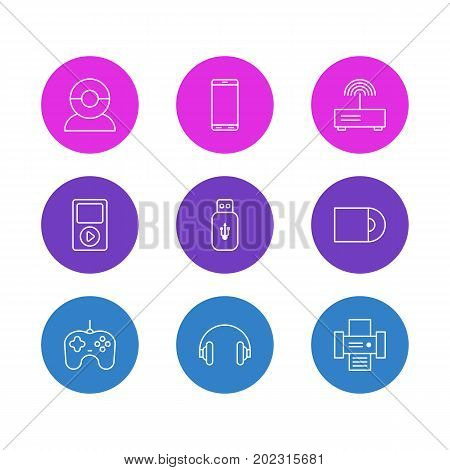Editable Pack Of Usb Card, Dvd Drive, Modem And Other Elements.  Vector Illustration Of 9 Technology Icons.