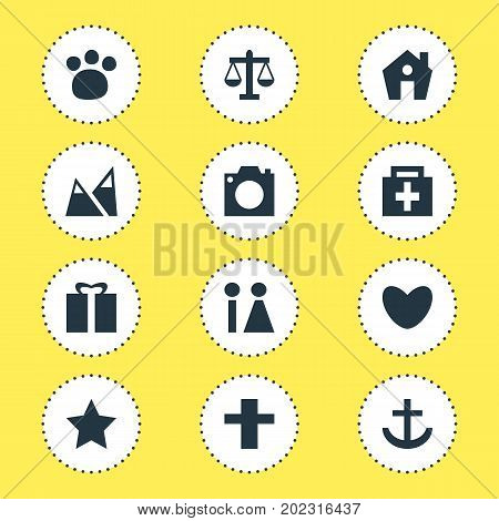 Editable Pack Of Present, Bookmark, Pet Shop And Other Elements.  Vector Illustration Of 12 Map Icons.