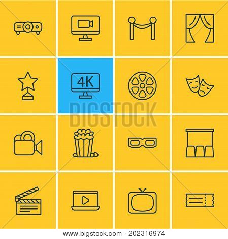 Editable Pack Of Theater, Cinema Fence, Snack And Other Elements.  Vector Illustration Of 16 Movie Icons.