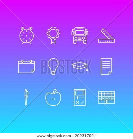 Editable Pack Of Bulb, Date, Trophy And Other Elements.  Vector Illustration Of 12 Science Icons.