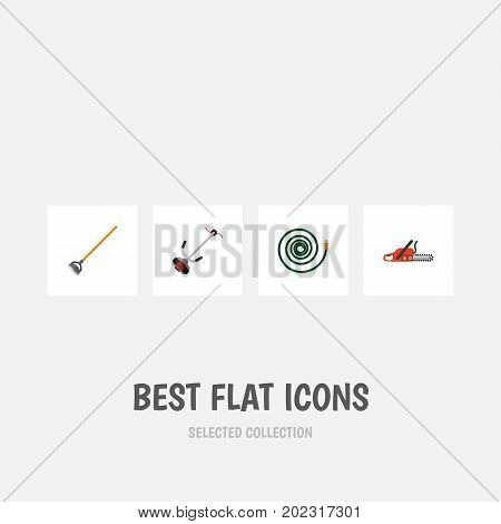 Flat Icon Dacha Set Of Hacksaw, Grass-Cutter, Hosepipe And Other Vector Objects