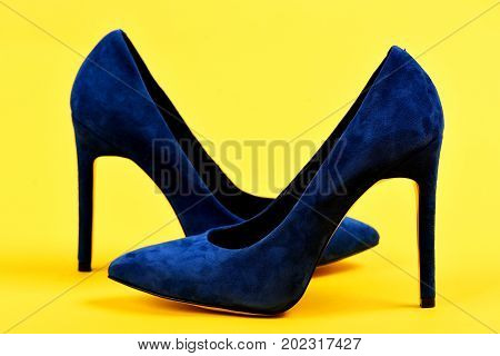 Elegance And Fashion Concept. Shoes In Dark Blue Color