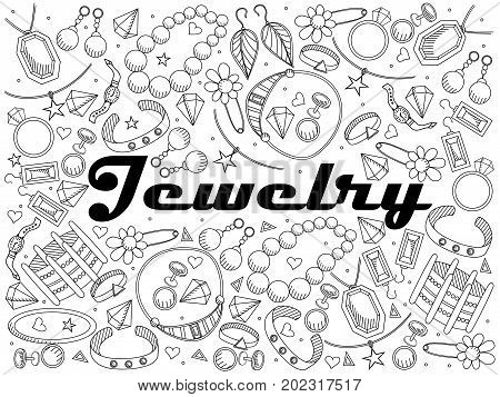 Jewelry coloring book line art design raster illustration. Separate objects. Hand drawn doodle design elements.