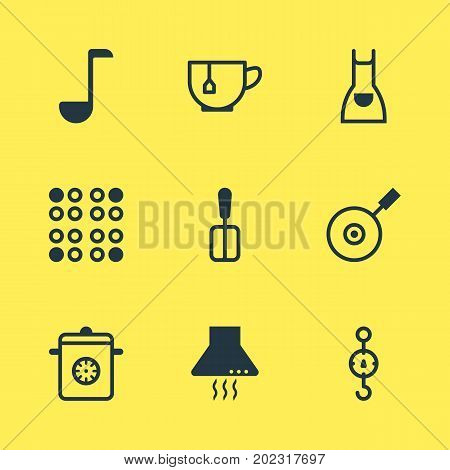Editable Pack Of Smock, Steelyard, Skillet And Other Elements.  Vector Illustration Of 9 Kitchenware Icons.