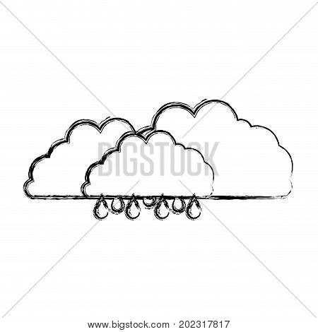 clouds with drizzle in blurred silhouette on white background vector illustration