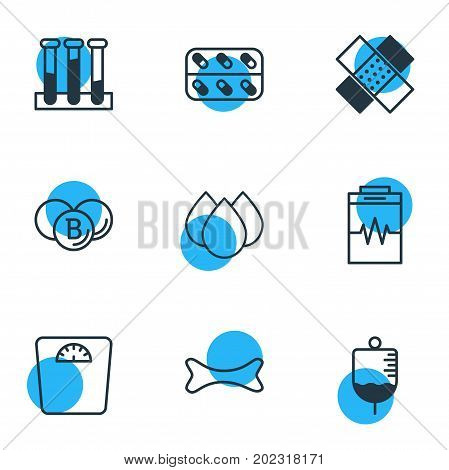 Editable Pack Of Weighing, Antibody, Treatment And Other Elements.  Vector Illustration Of 9 Medical Icons.