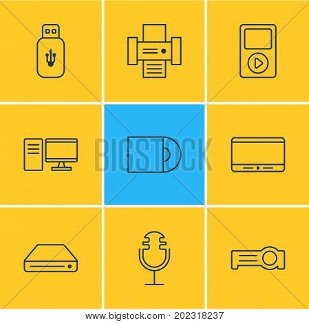 Editable Pack Of Usb Card, Monitor, Sound Recording And Other Elements.  Vector Illustration Of 9 Accessory Icons.