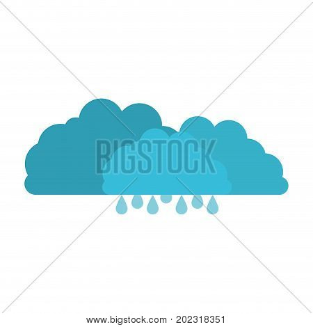 clouds with drizzle in colorful silhouette on white background vector illustration
