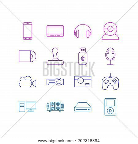Editable Pack Of Memory Storage, Floodlight, Video Chat And Other Elements.  Vector Illustration Of 16 Hardware Icons.