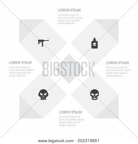 Icon War Set Of Gun, Skull, Substance And Other Vector Objects