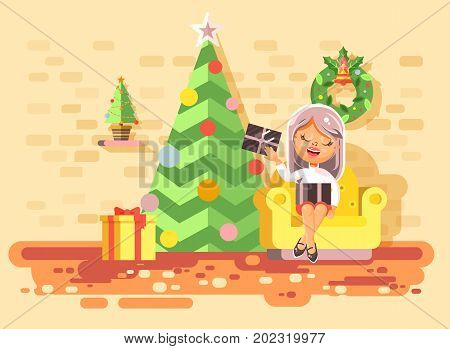 Stock vector illustration cartoon character child girl sit in comfortable chair, room with Christmas tree, happy New Year and Christmas, gifts, rejoice celebrate flat style element motion design