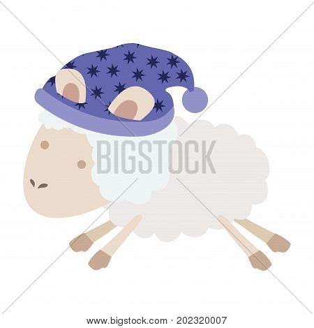 sheep animal with sleeping cap jumping in colorful silhouette on white background vector illustration
