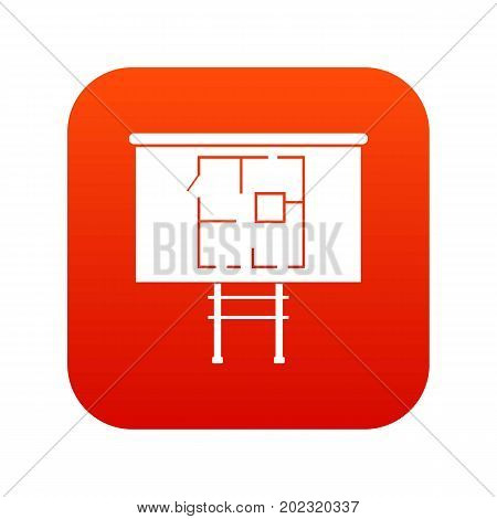 Project of house on a board icon digital red for any design isolated on white vector illustration
