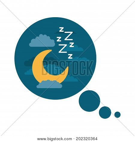 bubble call out with night landscape and snoring sign in colorful silhouette on white background vector illustration