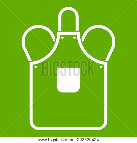 Blacksmiths apron icon white isolated on green background. Vector illustration