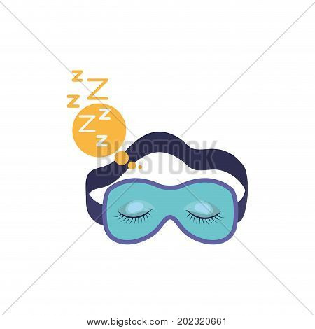 sleep mask with snoring sign in bubble callout in colorful silhouette on white background vector illustration