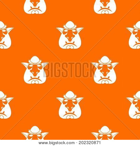 Head of troll pattern repeat seamless in orange color for any design. Vector geometric illustration