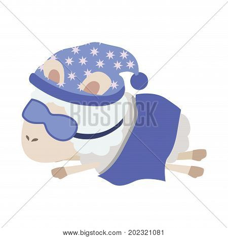 sheep animal with sleeping cap and sleep mask wrapped in a blanket in colorful silhouette on white background vector illustration