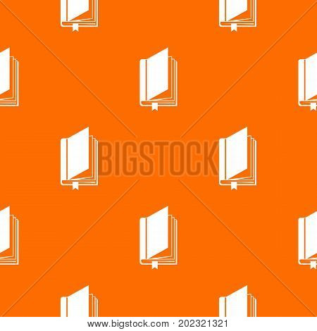 Book with bookmark pattern repeat seamless in orange color for any design. Vector geometric illustration