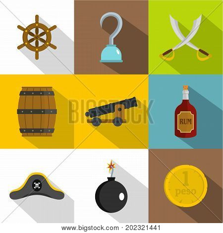 Pirates armor icon set. Flat style set of 9 pirates armor vector icons for web design