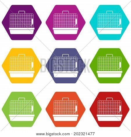 Cage for birds icon set many color hexahedron isolated on white vector illustration