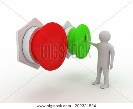 3d man choosing between yes or no . 3d rendered illustration