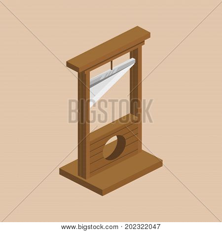 Guillotine medieval instrument of torture colorful minimalistic isometric style vector illustration