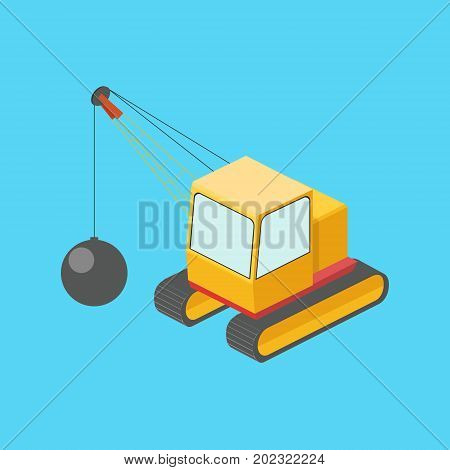Building destruction machine with wrecking ball colorful minimalistic isometric style vector illustration
